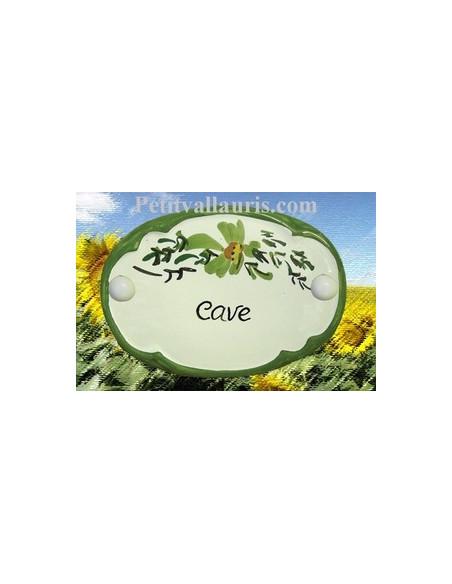 Plaque de porte Ovale en céramique blanche motif fleur verte inscription Cave