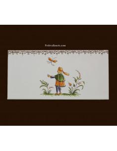 carrelage 10 x 20 en faience décor courtisan référence 2211 tradition vieux moustiers polychrome avec frise