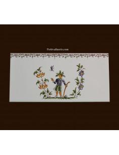 carrelage 10 x 20 en faience décor poète référence 2212 tradition vieux moustiers polychrome avec frise