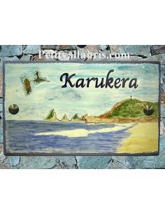 Plaque de maison en céramique décor Guadeloupe