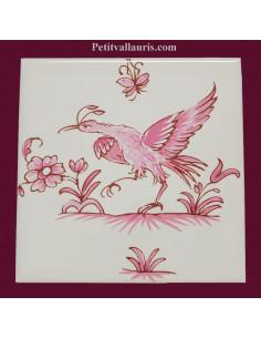 Motif sur carreau décor oiseau (5832) Tradition Vieux Moustiers rose