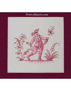 Motif sur carreau décor le semeur (1984) Tradition Vieux Moustiers rose