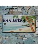 Plaque de Maison rectangle décor personnalisé exotique plage et cocotiers inscription bleue