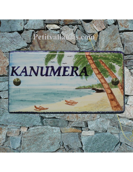 Plaque de Maison en céramique émaillée décor artisanal exotique plage et cocotiers inscription personnalisée