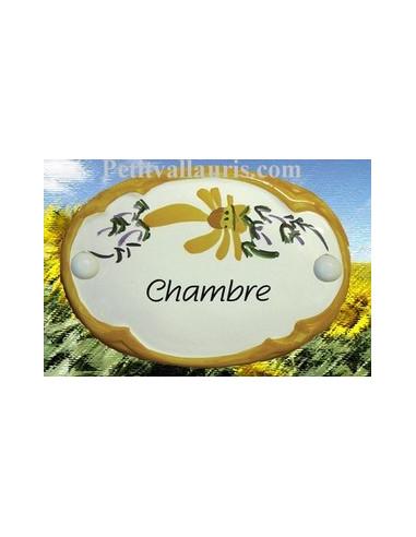 """Plaque de porte Ovale fleur jaune """"Chambre"""""""