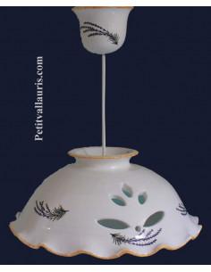 Suspension-luminaire plafonnnier en céramique ajourée décor brins de Lavande D33