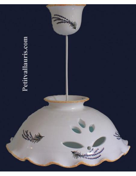 Suspension-luminaire plafonnier en céramique ajourée décor brins de Lavande D33