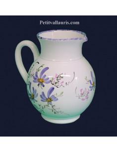 Grand Pichet -broc à eau en faience décor artisanal motifs fleurs bleues