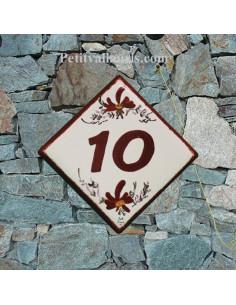 Numéro de rue ou de maison décor fleurs rouges pose diagonale
