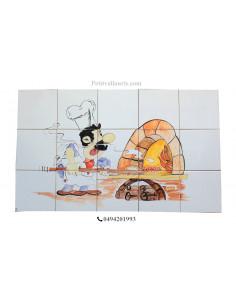 Fresque murale carrelage décor pizzaiolo et four à pizza