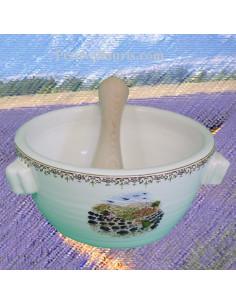 Mortier en céramique pour aïoli décor Paysage Provençal