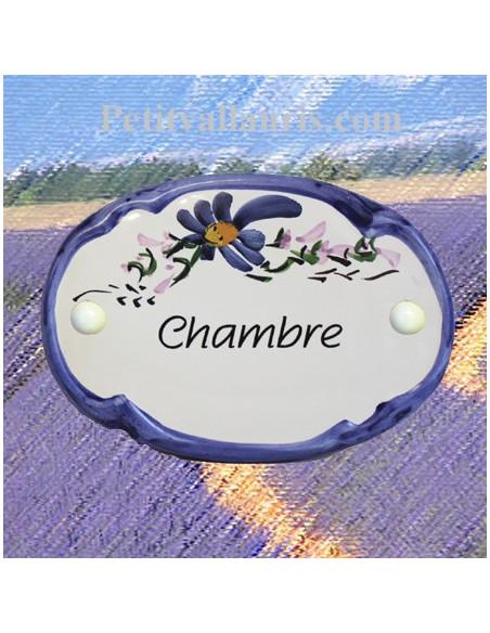Plaque de porte modèle ovale décor tradition fleurs bleues avec inscription Chambre