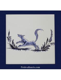 Carreau décor renard inspiration Tradition Vieux Moustiers bleu
