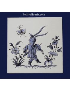 Carreau décor grotesque Tradition Vieux Moustiers bleu ref 5195