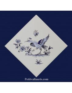 Carreau décor oiseau Tradition Vieux Moustiers bleu ref 5201 pose diagonale