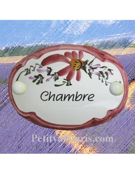 Plaque de porte modèle ovale décor tradition fleurs roses avec inscription Chambre