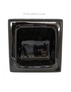 Porte savon en faience modèle carré à encastrer uni noir brillant