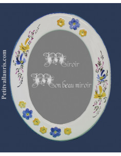 Miroir ovale décor Fleuri bleu et jaune + Fleurs en relief