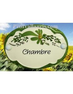 """Plaque de porte Ovale fleur verte """"Chambre"""""""