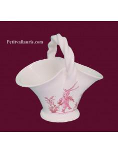 Panier miniature en faïence décor Tradition Vieux Moustiers rose