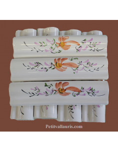 Listel ou corniche émaillée décor fleur rose