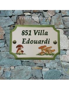 Plaque de Maison rectangle personnalisée décor champignons inscription et bord verts