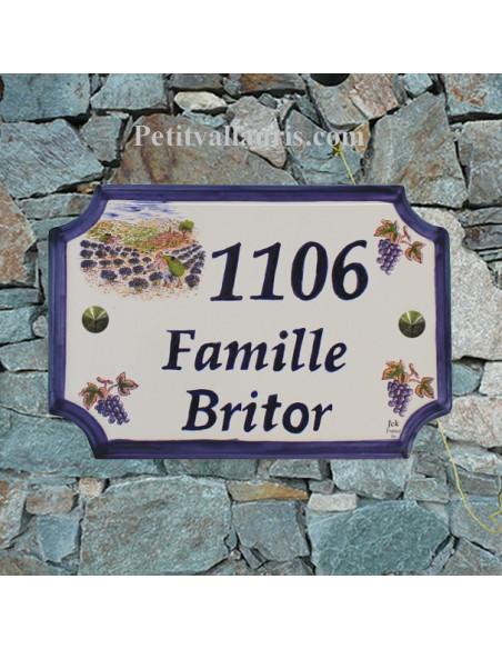 Plaque de Maison rectangle décor récolte des lavandes et grappes de raisin inscription personnalisée bleue