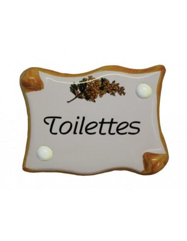 Plaque de porte parchemin Toilettes décor mimosas