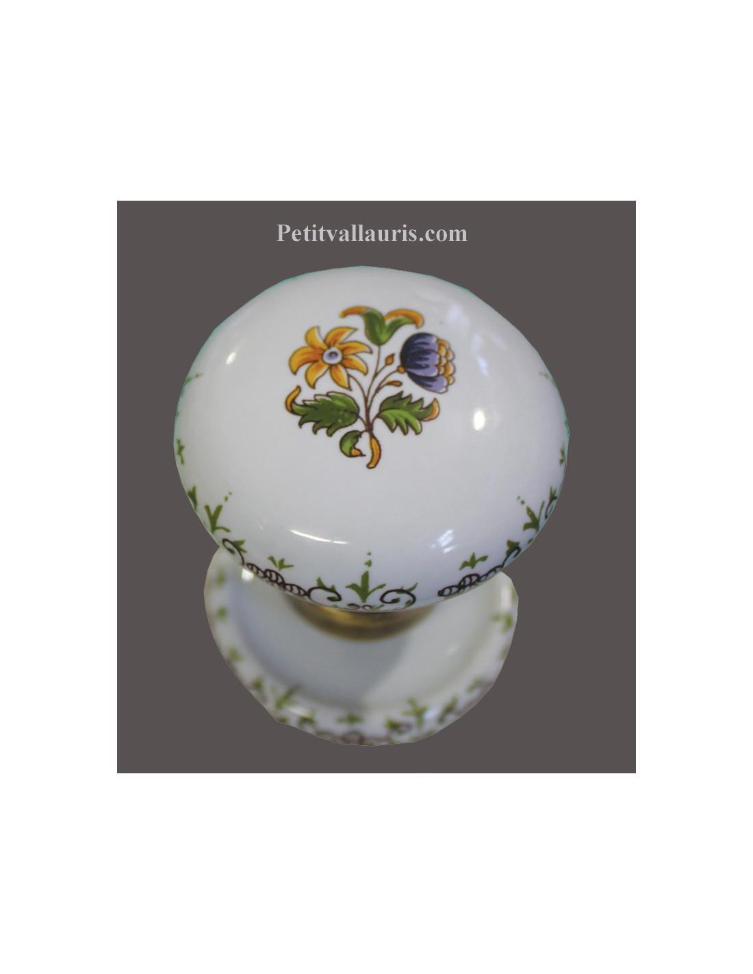 bouton de placard ou de porte en porcelaine motif fleurs polychromes diam tre 50 mm avec. Black Bedroom Furniture Sets. Home Design Ideas