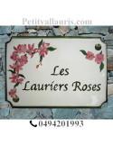 Plaque de maison émaillée de style décor Laurier rose