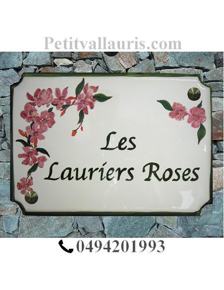 Grande plaque de maison en faience émaillée modèle angles incurvés motif artisanal Laurier rose + personnalisation