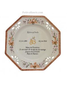 Grande assiette anniversaire de Mariage modèle octogonale décor fleurs saumons + poème noces