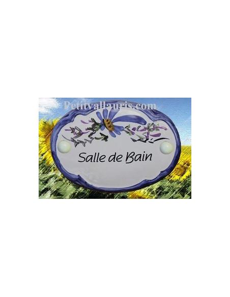 Plaque de porte modèle ovale décor tradition fleurs bleues avec inscription Salle de bain
