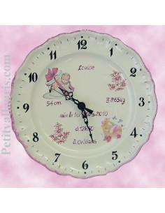 Assiette - Horloge Louis XV souvenir de naissance Fille