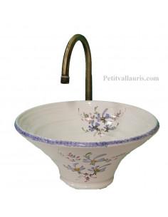 Vasque conique décor fleurs bleues
