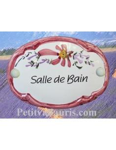 """Plaque de porte Ovale fleur rose """"Salle de bain"""""""