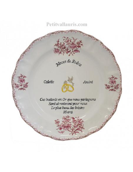 Assiette souvenir 35 ans de mariage modèle Louis XV décor rose Poème Noces de rubis