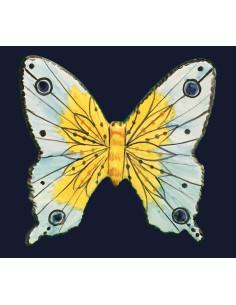 Papillon en céramique à suspendre vert et bleu ciel