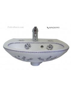 Lave-main en porcelaine blanche modèle Odyssee décor fleurs camaieux de bleu