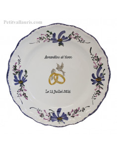 Assiette anniversaire de mariage modèle Louis XV décor fleurs bleues