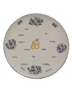plat rond pour souvenir Mariage décor fleurs bleues et inscriptions personnalisées