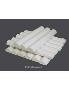 Listel en faience modèle large émaillé couleur unie blanche