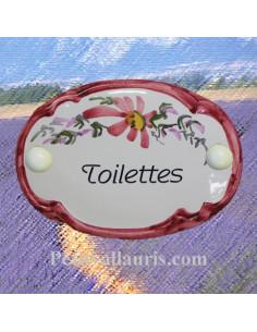 """Plaque de porte Ovale fleur rose """"Toilettes"""""""
