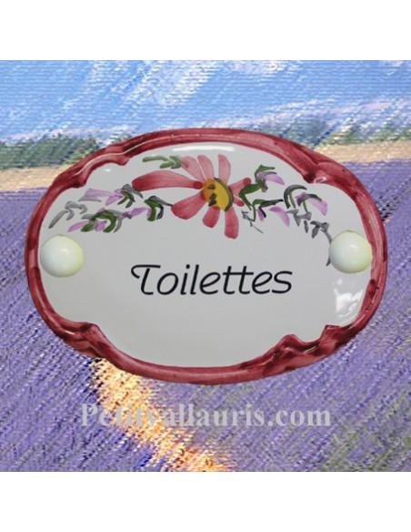 Plaque de porte modèle ovale décor tradition fleurs roses avec inscription Toilettes