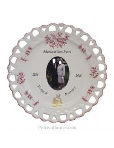 Assiette de Mariage modèle Tournesol avec photo décor tradition vieux moustiers rose