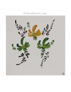 Décor sur carreau au Bouquet de Fleurs jaunes et vertes 20 x 20 cm