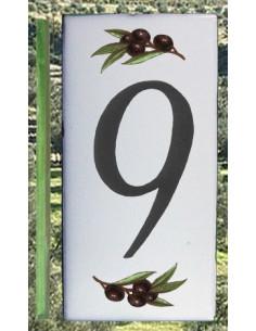 Numero de rue chiffre 9 décor brins d'olives
