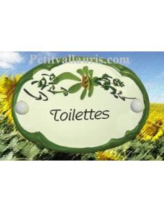 """Plaque de porte Ovale fleur verte """"Toilettes"""""""