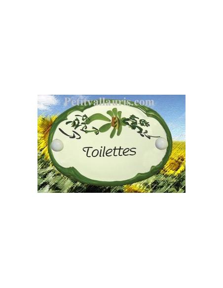 Plaque de porte Ovale en céramique blanche motif fleur verte inscription Toilettes