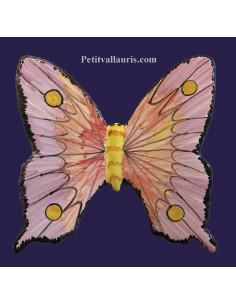 Papillon en céramique à suspendre rouge et violine